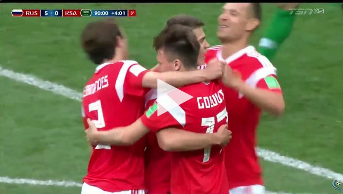 أهداف مباراة روسيا والسعودية 5-0 كأس العالم 2018