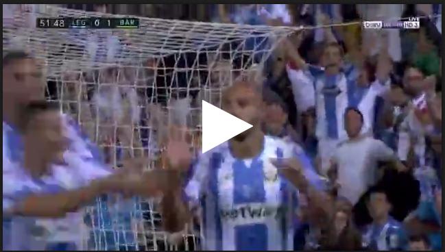نبيل الزهر يسجل هدف ليغانيس الأول في مرمى برشلونة