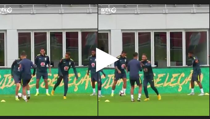 فيديو.. كوتينيو يهين لاعب أتلتيكو مدريد فى تدريبات المنتخب البرازيلي