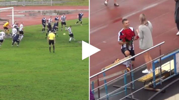 فيديو: لاعب روسي يتقدم يطلب يد صديقته على ارضية الملعب بطريقة رومسنية للغاية!