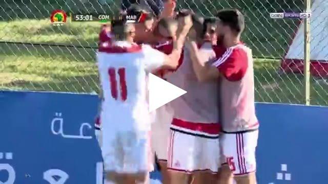 خالد بوطيب يسجل هدف المغرب الأول في مرمى جزر القمر