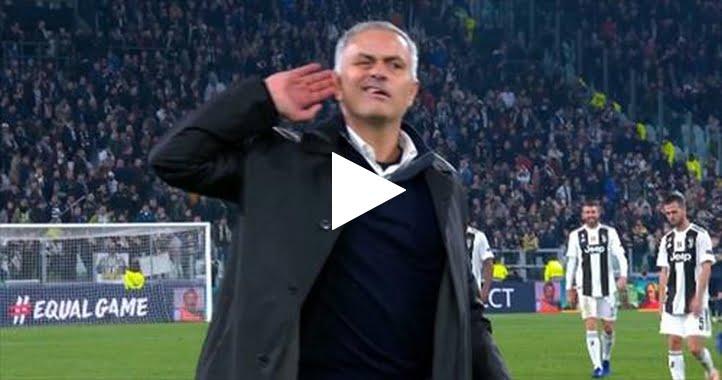 مورينيو يستفز جمهور اليوفي بعد نهاية مباراة يوفنتوس ومانشستر يونايتد