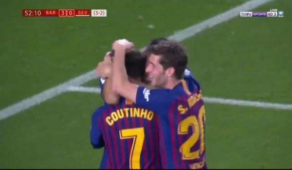 فيديو: هدف برشلونة الثالث ضد اشبيلية