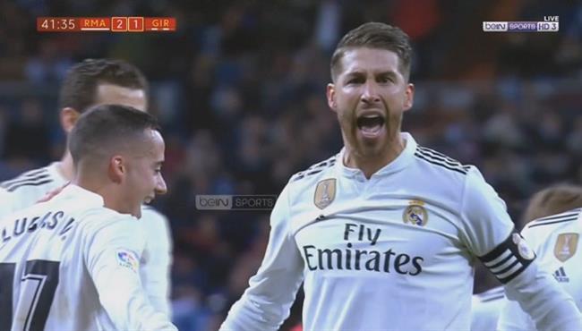هدف ريال مدريد الثاني في مرمي جيرونا .. سيرجو راموس