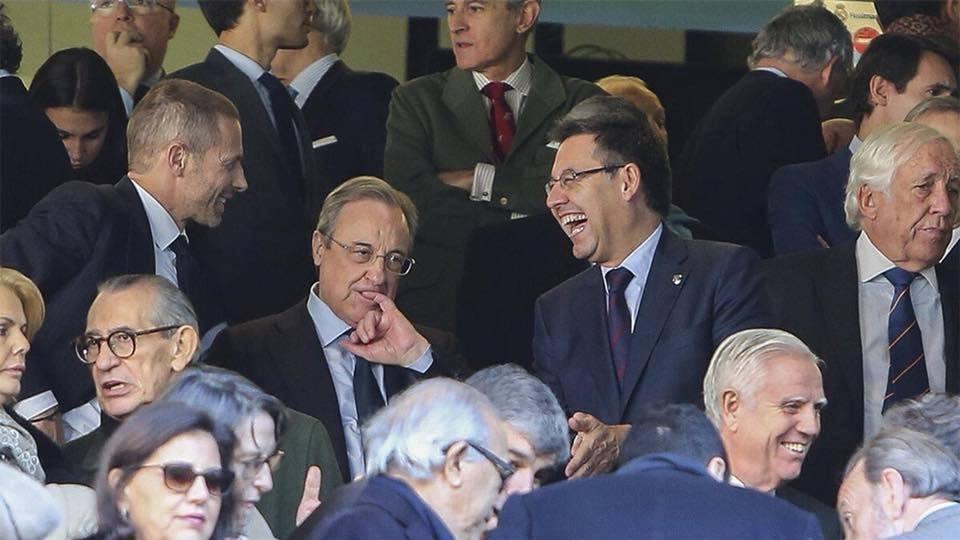 رئيس برشلونة يحرج رئيس ريال مدريد