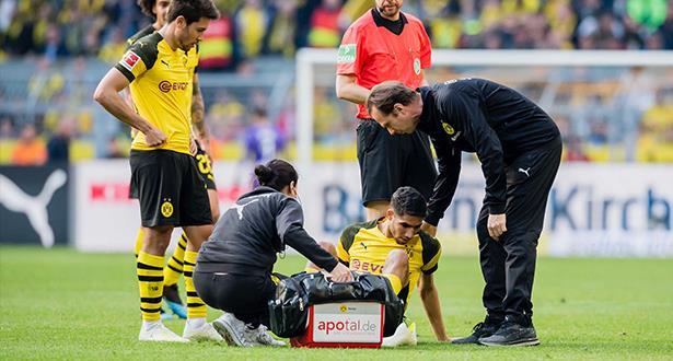 أشرف حكيمي يتعرض لإصابة في مباراة دورتموند ضد فولفسبورغ
