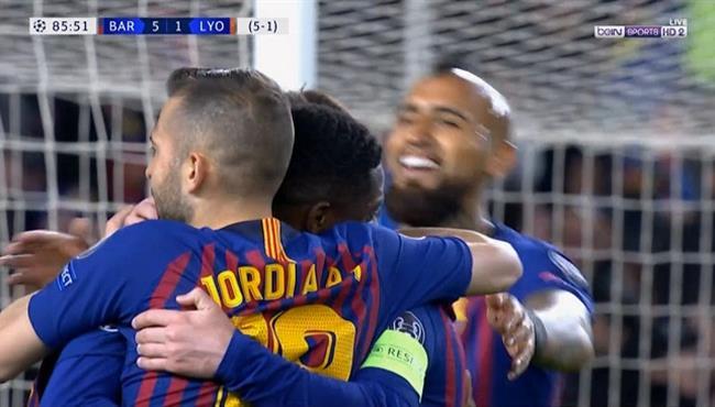 اهداف مباراة برشلونة وليون (5-1) دوري ابطال اوروبا