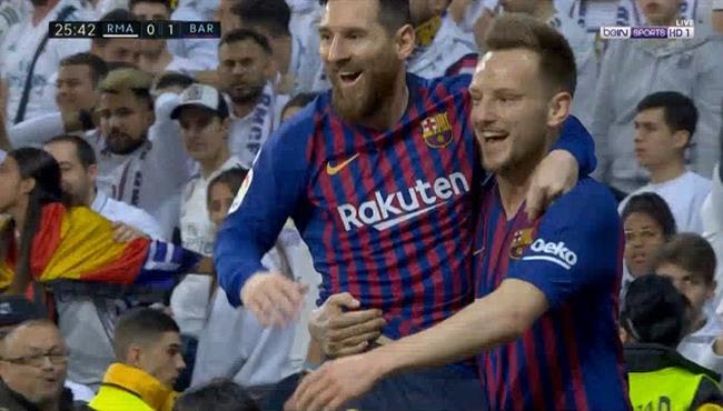 هدف برشلونة الأول في مرمى ريال مدريد - الدوري الاسباني