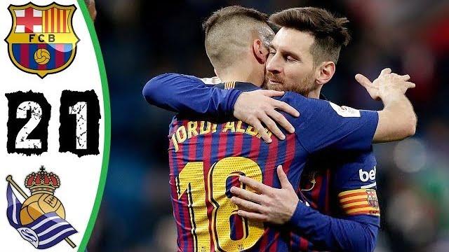 ملخص مباراة برشلونة وريال سوسيداد 2-1 هدفين عالميين